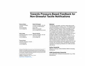 Towards Pressure-based Feedback for Non-stressful Tactile Notifications