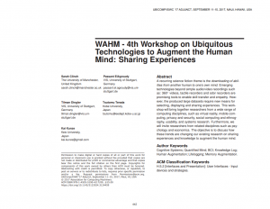 WAHM - 4th Workshop on Ubiquitous Technologies to Augment the Human Mind: Sharing Experiences