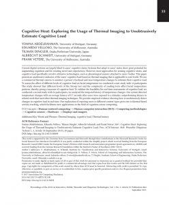 Cognitive heat: exploring the usage of thermal imaging to unobtrusively estimate cognitive load