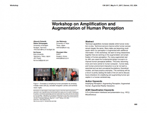 Workshop on Amplification and Augmentation of Human Perception